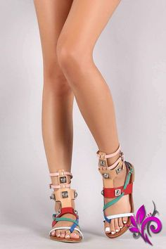 Strappy Color Block Open Toe Hardware Flat Sandal