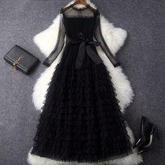 6e8a1cfc7282e Vfemage Europe New 2018 Spring Summer Womens Fashion Slim Mesh Sleeve Stand  Collar Sashes Black Long