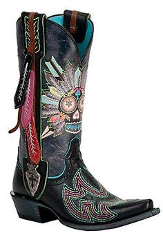 Ariat Gypsy Soule Ladies Black Indian Sugar Soule Snip Toe Cowboy Boots