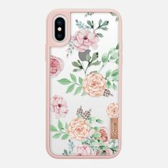 Casetify iPhone X Classic Grip Case - Watercolor Flowers by Mint Corner