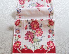 Vintage Red Tea Towel Floral Dish Cloth Kitchen Linens Table Runner