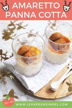 Panna cotta is niet alleen een heerlijk gemakkelijk dessert, maar ook een dessert waar je alle kanten mee op kan. Dit keer hebben we een amaretto panna cotta gemaakt en die is goed gelukt! Klik op de foto voor het recept. #kerst #recept