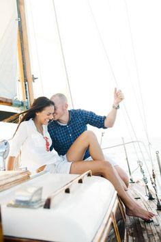 Key Biscayne vintage sailboat engagement | Photo: Katie Lopez Photography