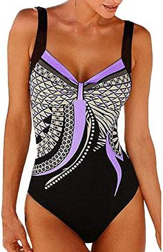 3c3cac90313 Chic Hahapai Mongolulu Women One Piece Print Swimsuit Bikini Push Up Bathing  Suit Swimwear Monokini S