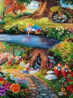 New Disney's Alice in Wonderland painting by Thomas Kinkade Studios