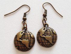 GLOBE Pendant Charm Dangle Earrings Antique Cute Earth by ZAHUCZKI