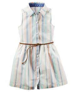 Lightweight in an allover striped pattern, this poplin dress is complete with a braided belt.She's head of the class with a cardi and flats on her first day!