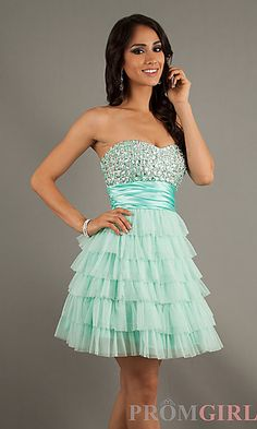 Short Strapless Bead Embellished Dress at PromGirl.com mom this is perfect!!! $69.00 @leiahbainter Junior Party Dresses, Cute Homecoming Dresses, Prom Dresses 2016, Formal Dresses For Teens, Prom Outfits, Grad Dresses, Banquet Dresses, Homecoming Ideas, Dama Dresses