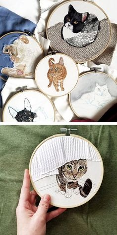 Hand Embroidery Patterns Embroidered realistic pets and couple portraits – Anya Helm interview Embroidery Materials, Embroidery Patterns Free, Hand Embroidery Designs, Embroidery Kits, Cross Stitch Embroidery, Machine Embroidery, Geometric Embroidery, Ribbon Embroidery, Embroidery Transfers