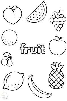 Simple Fruit Coloring Pages (free printables)