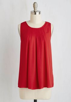 Steadfast Class Top in Cardinal. A sleeveless blouse this sophisticated is naturally your go-to for a polished appearance time and time again! #red #modcloth