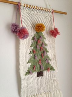 Christmas-themed Hand Woven Wall Hanging, Seasonal Collectors Piece, Woven Tapestry by MadeByKeriP on Etsy Weaving Wall Hanging, Weaving Art, Tapestry Weaving, Loom Weaving, Tapestry Wall Hanging, Hand Weaving, Festive Crafts, Christmas Wall Hangings, Wool Embroidery