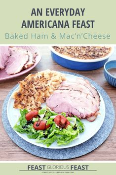 Ham, Mac'n'Cheese & Green Bean - An Everyday Americana Feast – Feast Glorious Feast Cheese Green Bean Casserole, Ham And Potato Recipes, Salad Buffet, Baked Ham, Recipe Collection, Green Beans, Entrees, Cooking Recipes, Meals