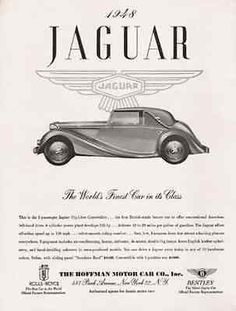 Jaguar 1948 AD Convertible 3 Position Top or Sedan with Sunshine Roof 125hp