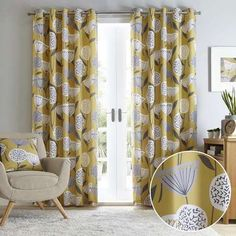 Patterned with a bold contemporary print finished in vibrant ochre yellow, this pair of stylish Elements curtains are available in a choice of sizes and complete with a modern eyelet header. Grey Patterned Curtains, Yellow And Grey Curtains, Bold Curtains, Luxury Curtains, Printed Curtains, Bedroom Curtains, Living Room Grey, Living Room Furniture, Living Room Decor