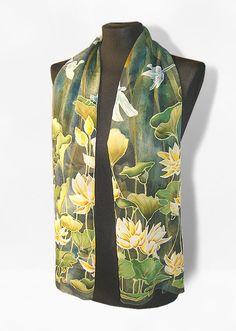 Blue green silk scarf Waterlily & Dragonfly scarf от MinkuLUL