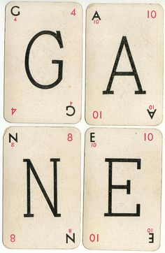 Lexicon cards, 1937. Again, lovely playing card typography.
