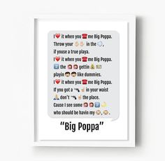 Notorious BIG Print, Emoji Art, Big Poppa Rap Lyrics, Hip Hop Poster, Biggie Smalls, Dorm Decor, Best Friend, Dorm Room, Rapper, Rap Gift