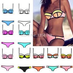 2015 Fashion Women Sexy Bikini Triangle Bra Bikini Women Patchwork Swimsuits Biquini Triangl Swimwear Beachwear Bikini Set