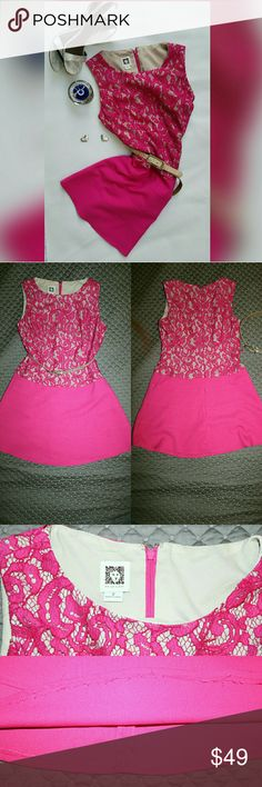 Lace Belted Dress Perfect Valentine's Day dinner dress.  Used once in good conditions.  ** Cut & Hemmed shortened for a mini dress look for my 5'2 figure** Pink Lace Scoop neck. Concealed rear zip closure. Bra-friendly shoulders highlight the sleeveless design with a nude belt. Anne Klein Dresses Mini