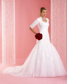 Modest Gown Features A Modified Queen Anne Neckline Outlined With Scalloped Applique Full Lace Long Sleeve Trumpet Wedding Dress US $187.00