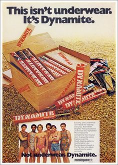 "Where do I get Steve a pair?  *giggle* !!!!    ""Dynamite"" by Munsingwear, 1973 - How has this not made a comeback, I will never know."