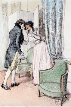 Hugh Thomson 'Drawing Him a Little Aside' from Sense and Sensibility by Jane Austen Character Illustration, Illustration Art, Jane Austen Novels, 18th Century Costume, Fairytale Art, Victorian Art, Vintage Artwork, Modern Artists, Ink Illustrations