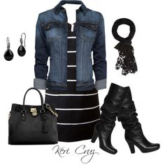 A fashion look from February 2014 featuring black and white sleeveless dress, dark blue denim jacket and unisa boots. Browse and shop related looks.
