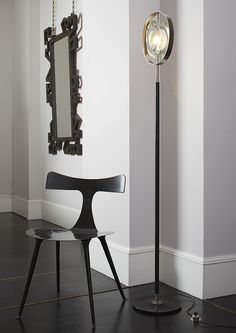"""Mirror """"Zeus"""" by Patrice Dangel (Alexandre Biaggi's edition) / Floor lamp """"Micro"""" by Max Ingrand / Chair """"Icare"""" by Patrick Naggar (Alexandre Biaggi's edition)"""