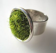 Lush Green Grass Round Silver Ring Wide by SeahagAndWalrus on Etsy, $26.00