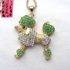 Betsey Johnson Shiny green crystal Pretty Poodle Pendant necklace#356L G   Jewelry & Watches, Fashion Jewelry, Necklaces & Pendants   eBay!
