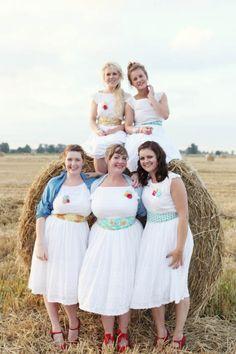Retro rustic bridesmaids