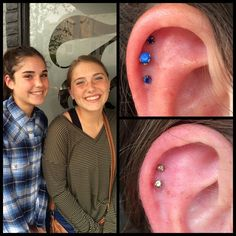 These two lovely ladies came in yesterday to give the #cartilage #piercings I did for them at my old shop some new friends at my new shop! It's always great to get return clients! They left with 2 sapphires and a peridot from #neometal!  #bodypiercing #birdsofafeather #sisterpiercings #piercingsbytalon #bodyjewlery #piercerlife #pnw