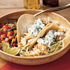 Fish Tacos with Lime-Cilantro Crema | MyRecipes.com