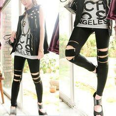 Fashion Women Zipper Knee Faux Leather Slim Skinny Leggings Stretchy Sexy Tights Pencil Pants