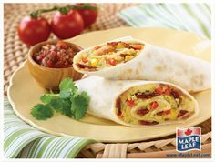Try making this family favourite at home, using Maple Leaf Ready Crisp® Bacon and Dempster's® Tortillas! Sprinkle with shredded Monterey Jack cheese and serve with salsa and sour cream. Yummy Wraps, Healthy Wraps, Burritos, Protein Filled Foods, Easy Food To Make, Morning Food, Fresh Rolls, Entrees, Sandwiches