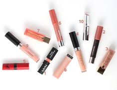 Top 10 Nude Lipstick + Lipgloss from the Drugstore