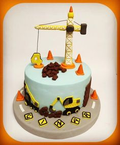 Baby Birthday Cakes, 1st Boy Birthday, Boy Birthday Parties, Excavator Cake, Truck Cakes, Construction Birthday Parties, Party Decoration, Cakes For Boys, Themed Cakes