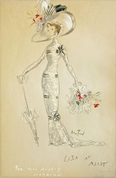 """Costume Design Scetch from """"My Fair Lady"""". Costume for Audrey Hepburn to wear as Eliza Doolitle"""