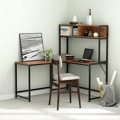 Ktaxon Office Desk L-Shape Corner Computer PC Table Workstation with Hutch Storage Shelves Bookshelf for Home Office (Rustic) Decor, Furniture, L Shaped Desk, Interior, Home, Desk Furniture, Office Desk, Desk, Corner Computer Desk