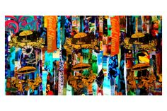 Collage printed on stretched Wall Candy, Collage, Prints, Blue, Painting, Design, Art, Art Background, Collages