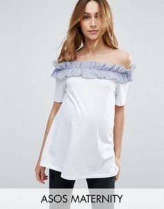 8515051e616e3 ASOS Maternity T-Shirt with Stripe Ruffle off Shoulder Asos Maternity,  Maternity Tops,