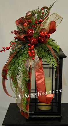Christmas Lantern Swag by TheRustyHeart on Etsy