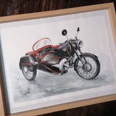 Motorcycle, Watercolor, Paper, Vehicles, Model, Pen And Wash, Watercolor Painting, Scale Model