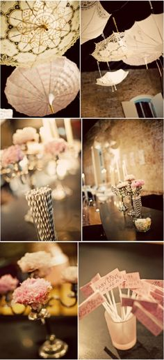 Really neat idea of designing patterns on light colored umbrellas and hanging them up as part of the wedding decorations. Also especially like the light pink rose chandelier. These are both inexpensive and pretty props.