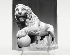 Black and White Lion, Lion Shower Curtain, King of the Jungle, Bathroom Decor, St Augustine, Cat Gray Mane courage Statue Sculpture Aslan by mayaredphotography. Explore more products on http://mayaredphotography.etsy.com
