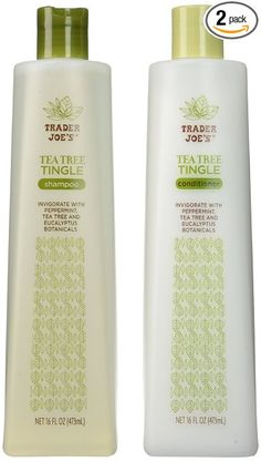 Trader Joe's Tea Tree Tingle Shampoo & Conditioner, 16 oz. Great for dandruff, seborrheic dermatitis and more.  It does make the scalp tingle pleasantly.  Very effective too.
