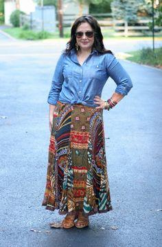 Wardrobe Oxygen: Chambray shirt with hippie skirt