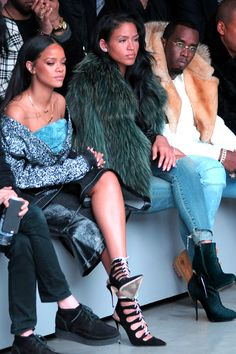 Rihanna, Cassie Ventura, and Diddy at Kanye West X Adidas Fashion Show.