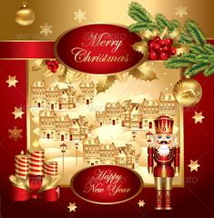 Christmas illustration with nutcracker — Vector EPS #symbolics #greeting card • Available here → https://graphicriver.net/item/christmas-illustration-with-nutcracker/709909?ref=pxcr